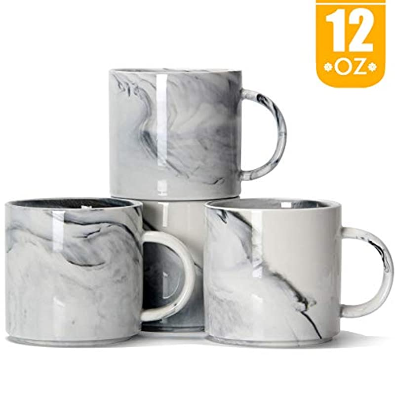 12 oz / 320ml Stackable Coffee Mugs, Smilatte M101 Novelty Marble Ceramic Cup for Boy Girl Lover, Set of 4, Gray
