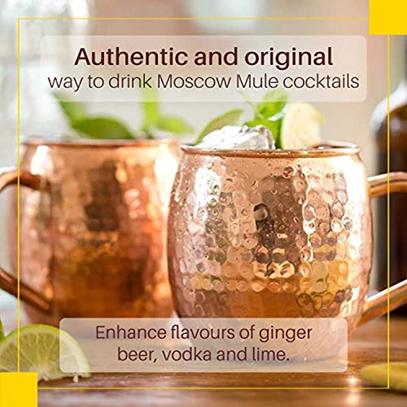 2 x Moscow Mule Copper Mugs - Set of 2 Twinz'Up Hammered and Solid Copper Cups - XL - No Lining, 100% Pure Copper - Hammered Type Copper Mug - 45 cL Capacity Cup - Great for Any Chilled Beverage