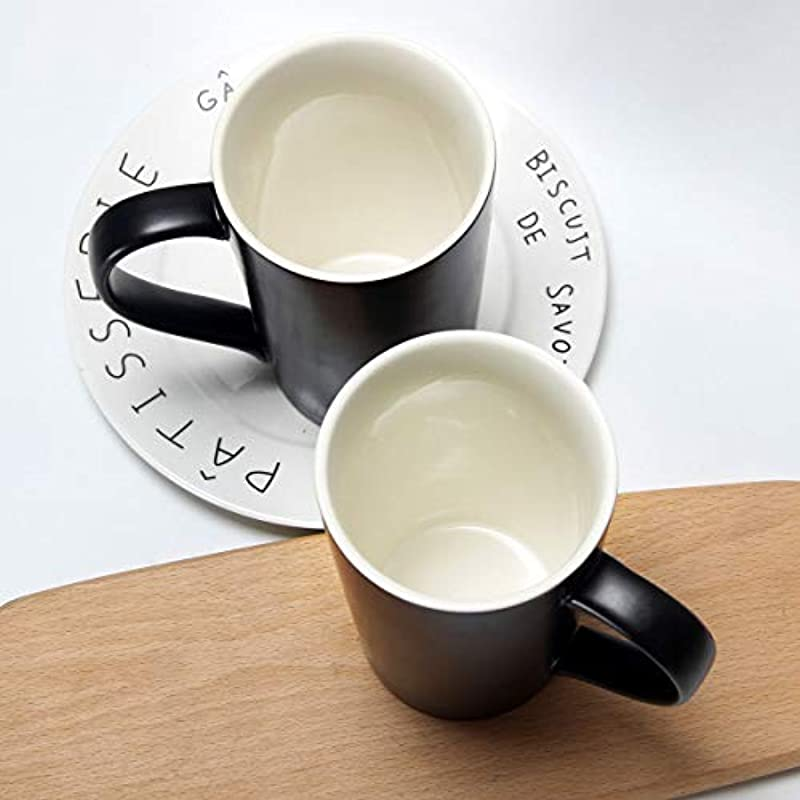 20 oz / 600ml Large Coffee Mugs, Smilatte M007 Plain Tall Ceramic Cup with Handle for Dad Men, Set of 2, Black