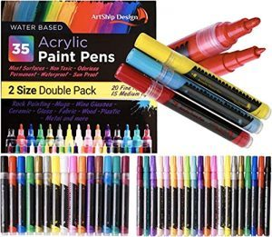 35 Premium Acrylic Paint Pens, Double Pack of Both Extra Fine and Medium Tip