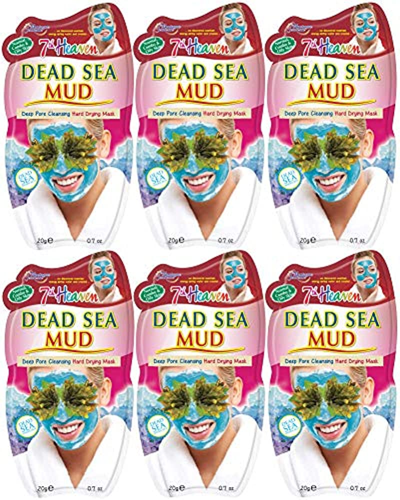 7th Heaven Dead Sea Hard Drying Mud Face Mask (x6 pack) with Pressed Lavender, Seaweed and Crushed Dead Sea Salt for Deep Pore Cleansing, Ideal for Normal, Combination and Oily Skin