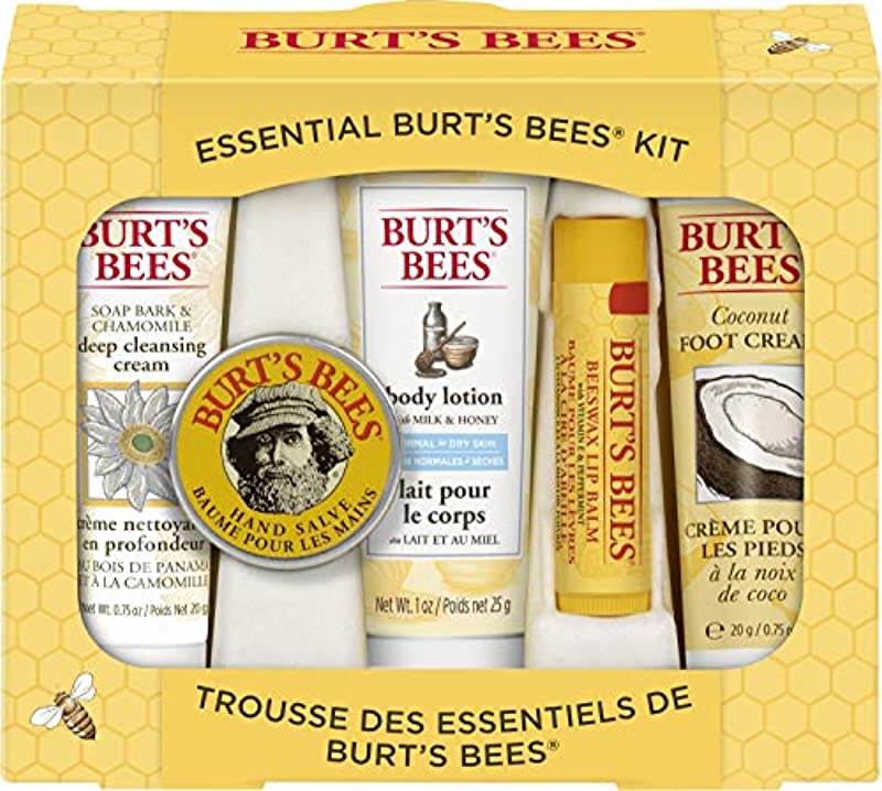 Burt's Bees Essential Everyday Beauty Gift Set, Travel Size Natural Products with Deep Cleansing Cream, Hand Salve, Body Lotion, Foot Cream and Lip Balm