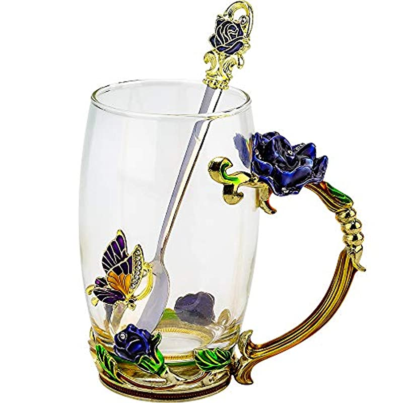 COAWG Blue Rose Enamel Large Glass Mug Gifts with Spoon Crystal Glass Cup Birthday Wedding Anniversary Gifts for Women Wife Mum Grandmother Girl Teacher Friends (Blue B, 12oz-1pack+Spoon)