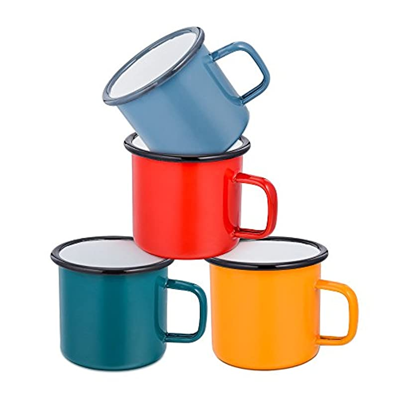 Enamel Coffee Tea Mug Set of 4, HaWare Red/Yellow/Blue/Green Enamel Drinking Mugs Cups, Ideal for Home/Office/Travel/Camping, Resusable & Portable, 350 ml(12 Ounce)