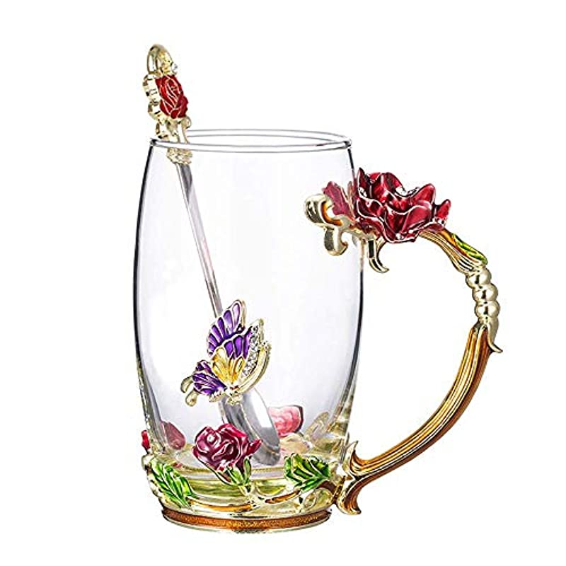 Enamels Glass Mug Butterfly Rose Red Flower Clear Lead-Free Tea Cup Coffee Mugs Travel Mugs Elaborate Handle and Beautiful Spoon for Women Birthday Valentines Wedding Day Gifts