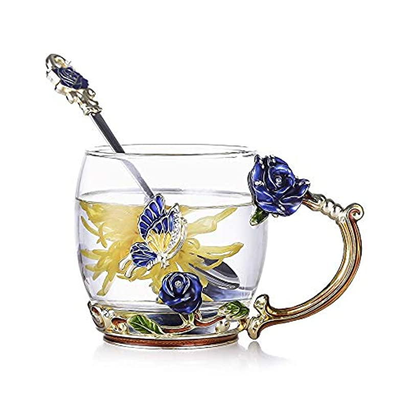Evecase Enamels Butterfly Flower Clear Lead-Free Glass Coffee Mugs Tea Cup with Steel Spoon and Gifts Box,Personalised Gifts for Women Wife Mum Teacher Friends Birthday Mothers Valentines Wedding Day