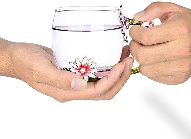 Flower Tea Cup, Enamel Glass Mug Chrysanthemum Crystal Clear Novelty Coffee Cups Travel Mugs with Flower Handle and Beautiful Spoon Teacher Valentine's Day Gift Birthday Present for Women and Men 11oz