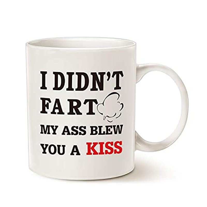 Funny Quote Coffee Mug Christmas Gifts, I Didn't F My A Blew You a Kiss for Dad, Brother, Friend Great Gift Ideas Porcelain Cup, White 11 Oz
