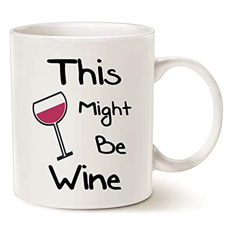 Funny Wine Coffee Mug, Best Gifts for Dad Mom Friend Porcelain Cup, 11 Oz