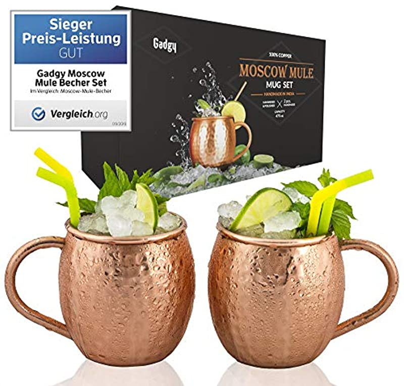 Gadgy ® Moscow Mule Mugs Set 2 pcs.   Original 100% Pure Copper Cups Handmade with Welded Ear   475 ml.   Cocktail Shot Schnapps Quality Gift