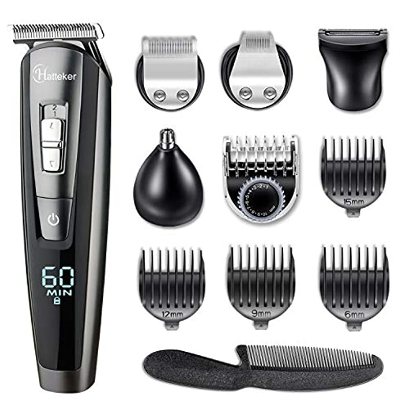 HATTEKER Hair Clippers Beard Trimmer for Men Hair Trimmer Cordless Grooming Kit Haircut Kit for Men Kids Adults Upgrade Hair Trimmer with LED Display USB Rechargeable Wet & Dry