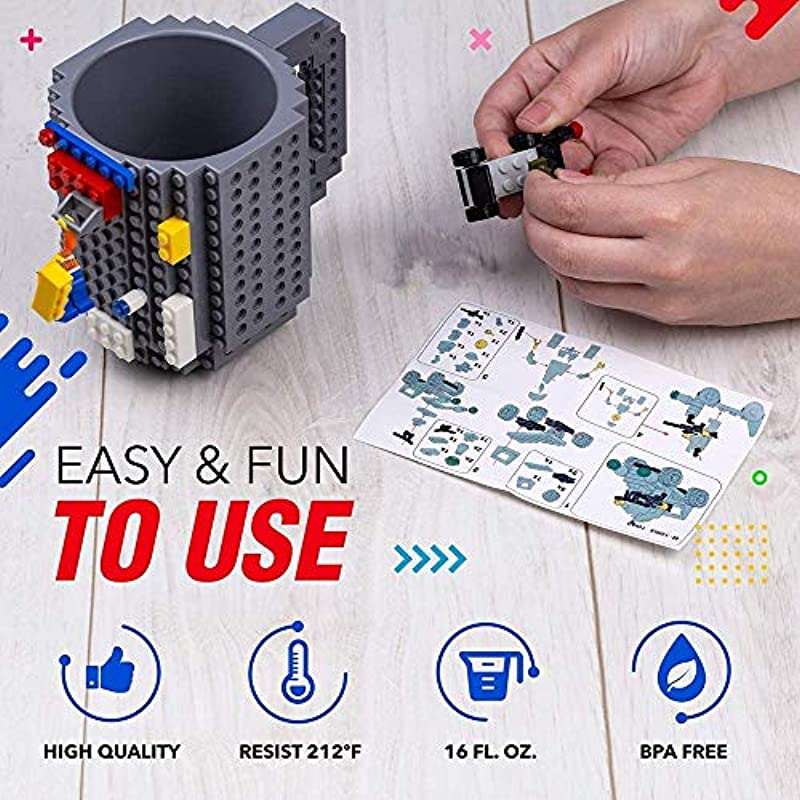 HUISHENG Build-On Brick Mug, Funny Block Buddy Coffee Cup, Unique Valentines Easter Father's day Birthday Christmas Gifts for Men Dad Him Boys Girls Adults Kids Friends, Compatible with Lego (Black)