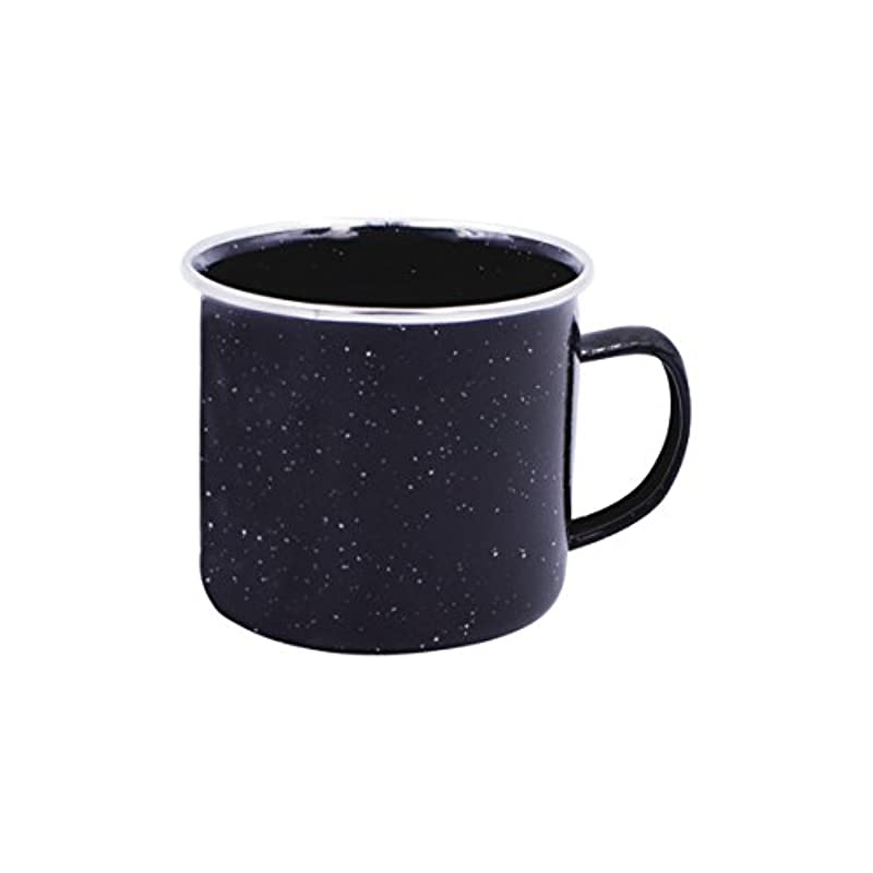 Milestone Camping 62420 Enamel Mug Ideal for Camping, Hiking, Travels and more, Black, 12 oz