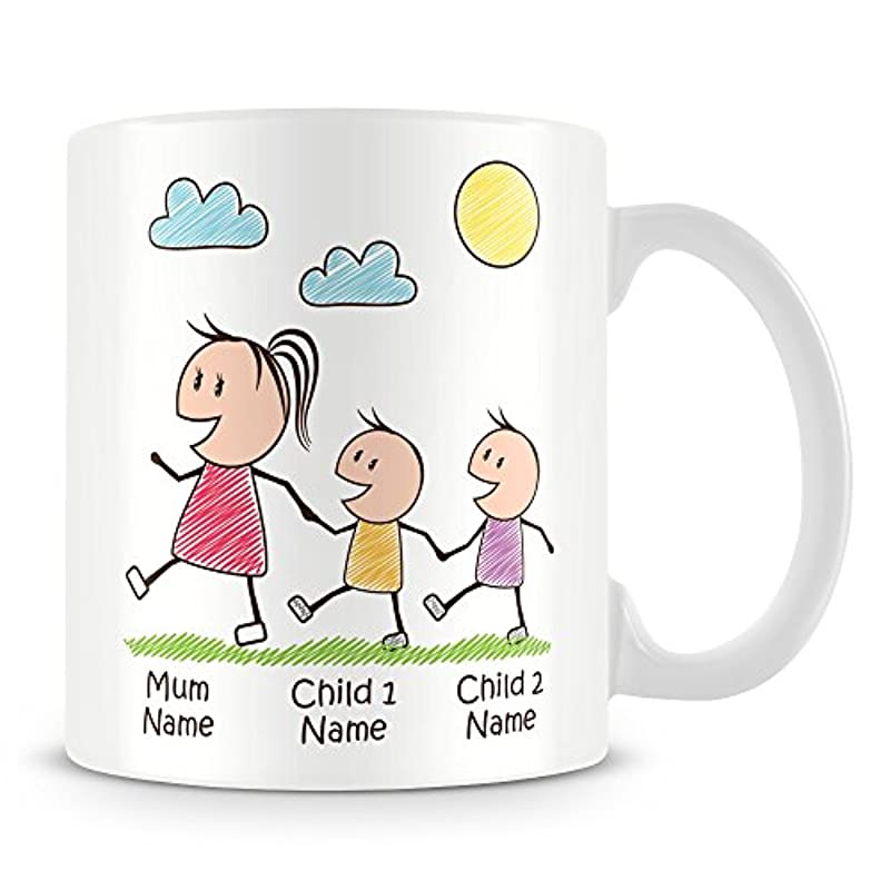 Mummy Mug with 2 Kids - Personalise with Names - Gift for Mums