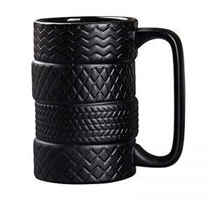 NEWBEER Creative Tire Cup Car Wheel Mug for Coffee Tea Drinks Ceramics Tyre Cup Funny Gift Black 5 * 3 * 3inch 13.5oz