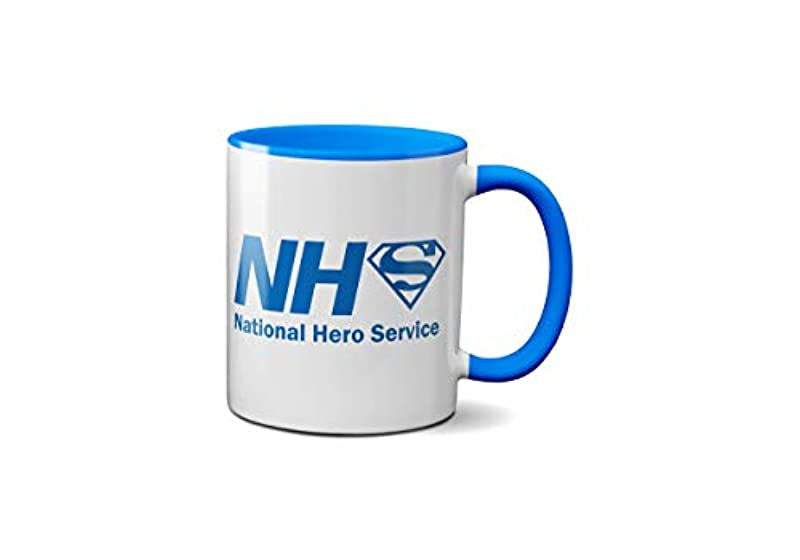 NHS National Hero Service Mug- Doctors Nurses Workers Presents Gifts Support Fun Ceramic Handle Idea Heavy Duty Handle Dishwasher and Microwave Safe Great Quality (Blue Handle Prime)