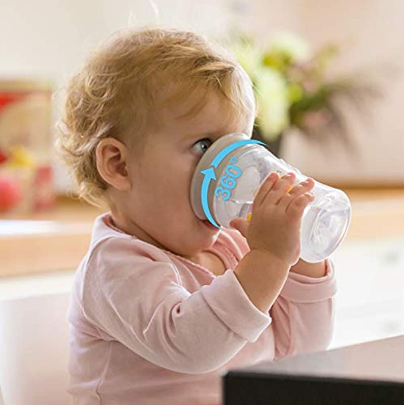 NUK Magic Cup Sippy Cup, 360° Anti-Spill Rim, BPA-Free, 8+ Months, 230ml, Tiger (Blue)