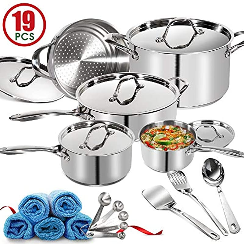 19 Piece Stainless Steel Induction Cookware with Lids Masthome