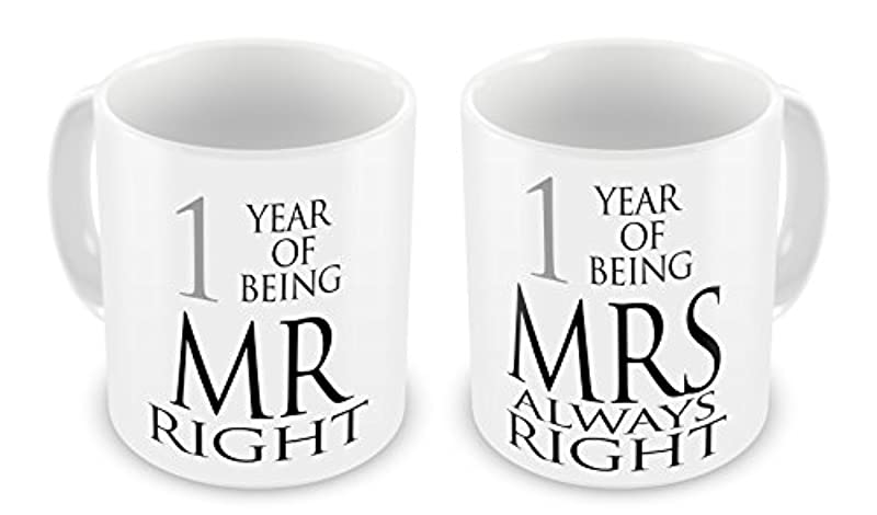 Pair of Mr Right & Mrs Always Right Anniversary (1st Paper) Novelty Gift Mugs