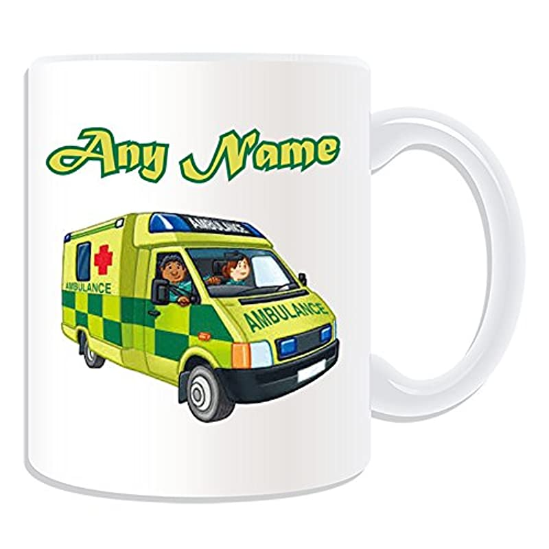 Personalised Gift - UK Ambulance Mug (Transport Design Theme, White) - Any Name / Message on Your Unique - NHS Van Vehicle Hospital St John Red Cross Paramedic Emergency Services 999 Driver Automobile