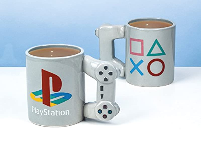 PlayStation PS4 Controller Shaped Mug | Dual Shock Novelty Coffee Tea Cup | Retro Gaming Drinking Mug | Ceramic Collectors | Officially Licensed Product | Standard UK Size 300ml