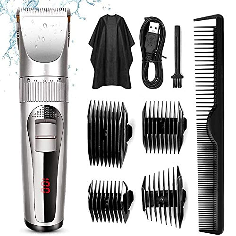 Silver Hair Clippers, High-Performance Professional Hair Clipper Cut Tool with Plug Haircut Kit for Men, Father, Husband, Kids, with an All Metal Housing