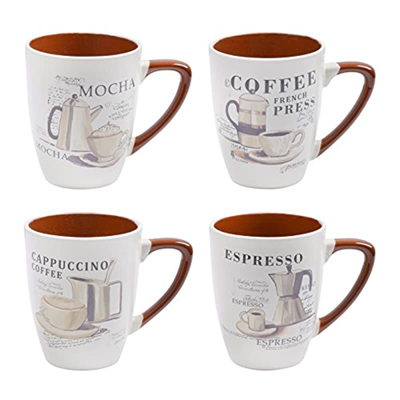 XS4621 Set of 4 Gorgeous Large Stoneware Speciality Coffee Mugs with Mocha Espresso Cappuccino Designs