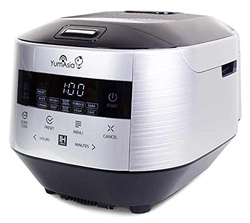 Yum Asia Bamboo Rice Cooker with Induction Heating (IH) and Ceramic Bowl, 7 Rice Cooking Functions, 4 Multicooker Functions, Motouch LED Display (1.5L) 220-240V UK/EU (Silver and Black)