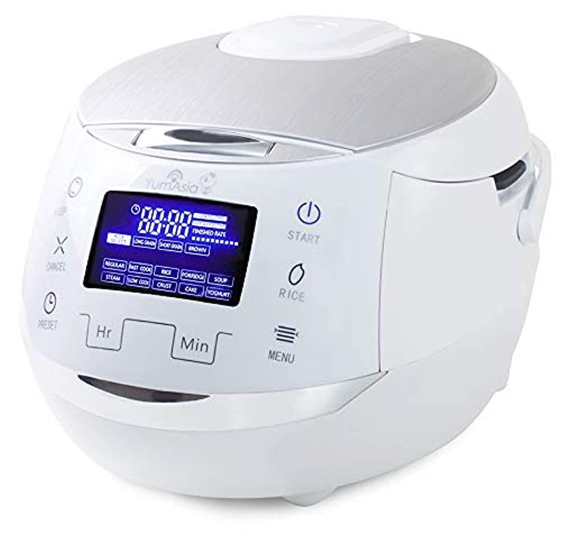 Yum Asia Sakura Rice Cooker with Ceramic Bowl and Advanced Fuzzy Logic / 6 Rice Cook Functions, 6 Multicook Functions, Motouch LED Display (1.5 Litre) 220-240V UK/EU Power (White and Silver)