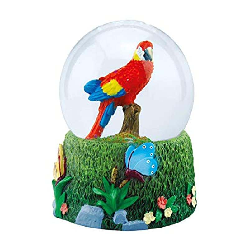 Parrot Snow Globe from Deluxebase, with resin figurine and moulded base.