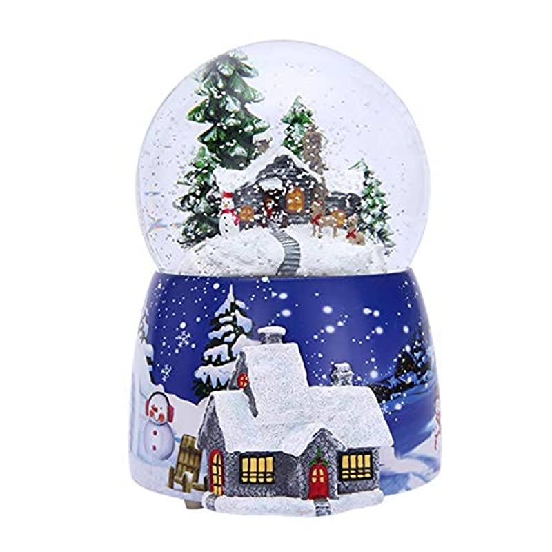 Snow Globes - Christmas Crystal Ball - Musical Snow Globe Assorted Xmas Decoration Designs - Music Box with Light Rotate Birthday Gift - Perfect for Party Bag, Stocking, Baubles and Ornament