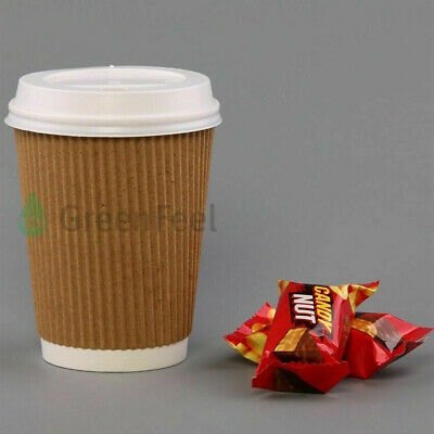 4/8/12/16oz Paper Cups Kraft Disposable Coffee Cups For Hot Drinks With Lids