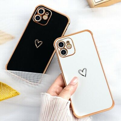 For iPhone 11 12 Pro XR XS Max 7 8 SE Girly Heart Phone Case Soft Silicone Cover