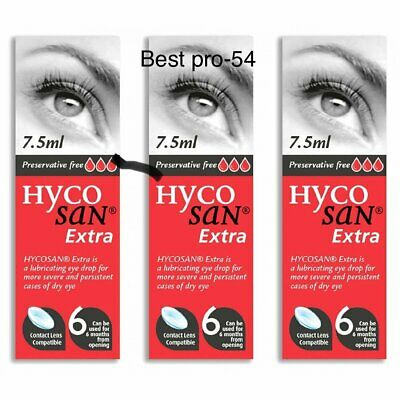 Hycosan Extra 3x pack Preservative Free DRY Eye Drops RECOMMENDED BY OPTICIANS