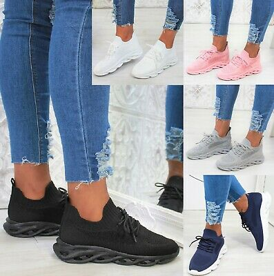 LADIES WOMENS SPORT LACE UP JOGGING SNEAKERS RUNNING FASHION TRAINERS SHOES SIZE