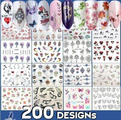 Nail Art Stickers -Water Decals Flowers Lace Tribal Jewels Feathers Butterfly