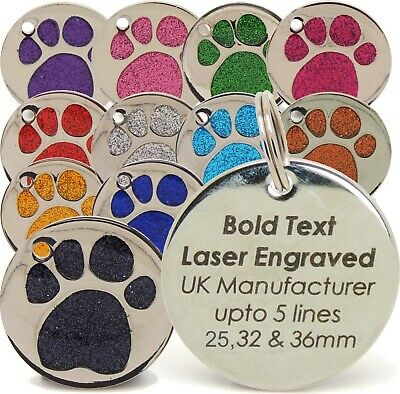 Personalised Engraved Glitter Paw Print Pet Tags, 3 sizes 25, 32 & 36mm Dog, Cat