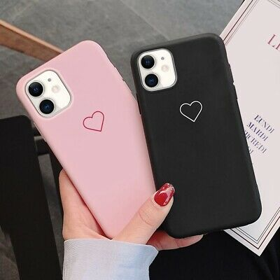 Silicone Phone Case Love Heart Soft Cover For iPhone 12 11 Pro Max XR 6 7 8 X SE