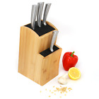Universal Bamboo Knife Block Kitchen Knives Storage Holder with Fibre Rods M&W